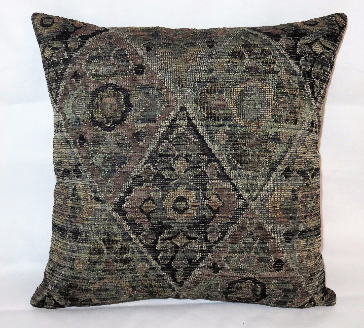 Grey tapestry chenille pillow