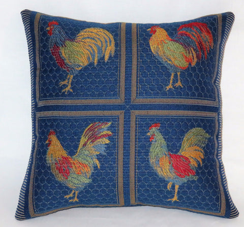french blue chicken pillow