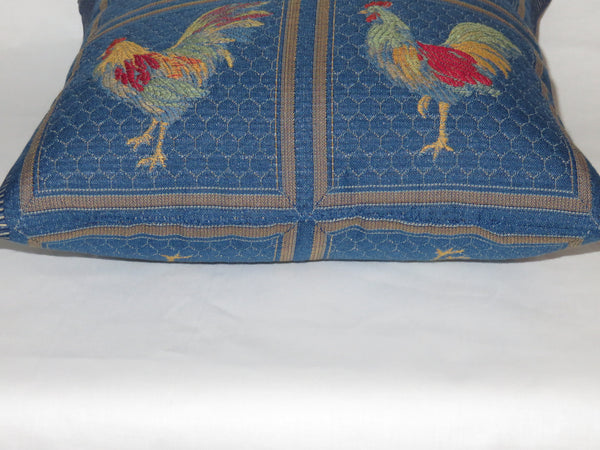 "Blue Chicken Pillow, Small 12"" Square, Colorful Rooster Brocade in Royal, Red, Yellow, Green, Orange"