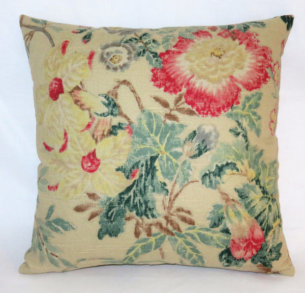 Tan pink teal floral pillow