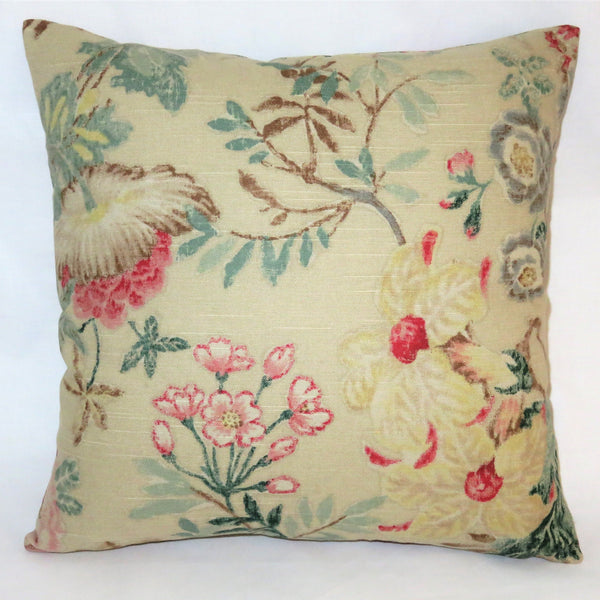 "Beige Pink Teal Floral Pillow Cover, 17"" Square Cotton, Yellow Green Brown, Vintage Look Flowers"