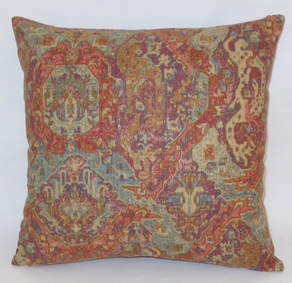Orange turquoise moroccan print pillow