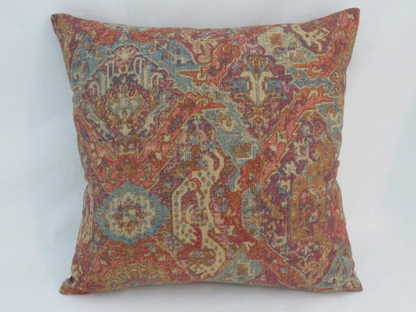 Orange and Turquoise Carpet Print Pillow Ellen DeGeneres Beach Knoll Fabric Raisin Linen