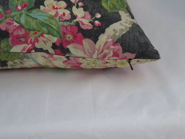 Waverly Black Floral Engagement Pillow Cover with Birds, Tropical Flowers, Lime Green Pink Turquoise