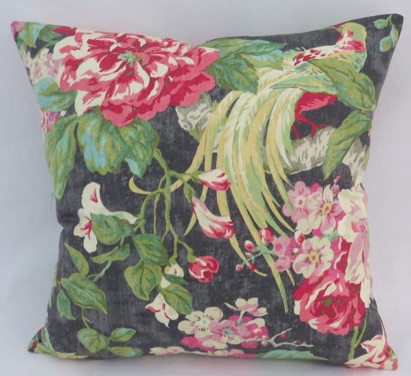 Waverly black tropical bird pillow