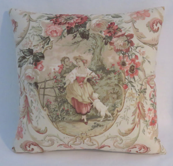fragonard French country toile in blush pillow