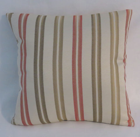 Coral and Green Stripe Pillow
