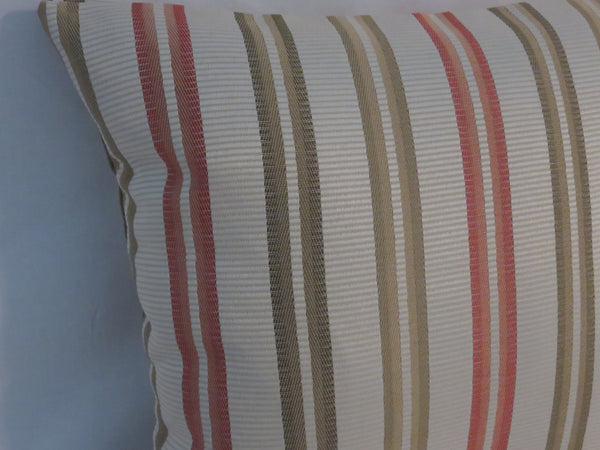 "Coral and Green Ribbon Stripe Pillow Cover - Peach Sage Rust 17"" Square with Zipper"