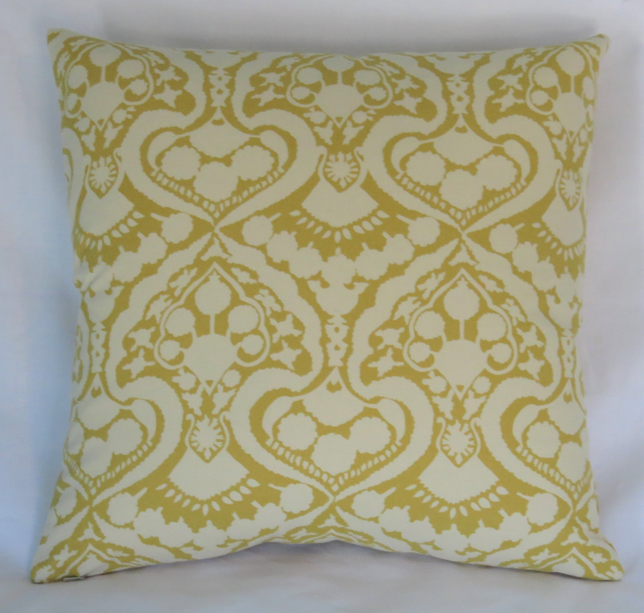 Gold and Ivory damask print pillow cover