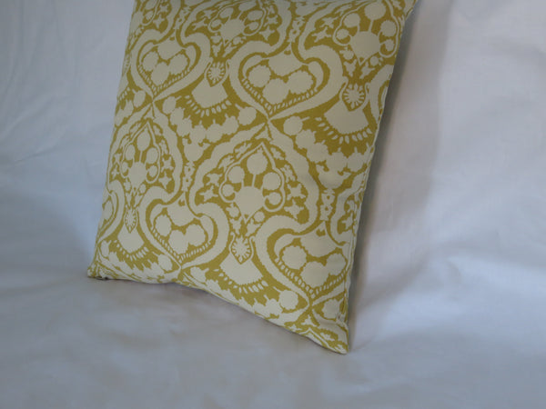 "Gold Damask Print Pillow Cover, 17"" Square Cotton, Mustard Yellow & Cream Floral"