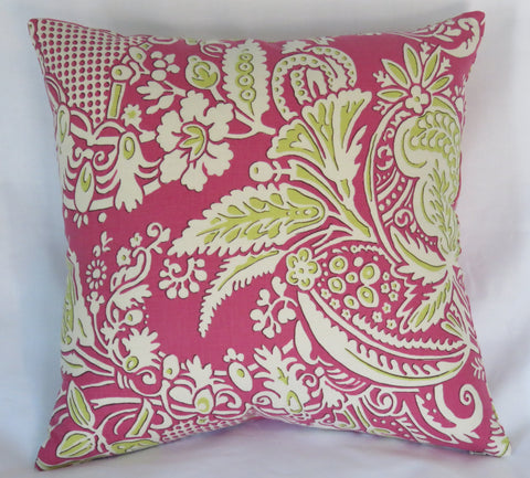 Fuchsia Lime Green Floral Pillow Cover
