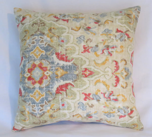 Blue Red Yellow Carpet Style Print Pillow Cover