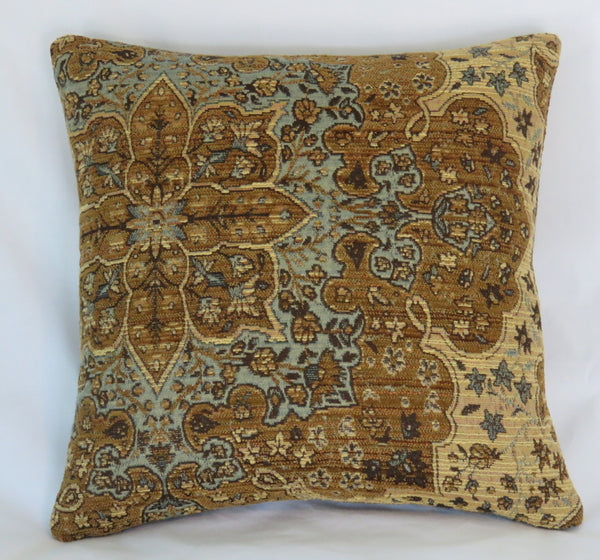 Brow Blue chenille tapestry pillow