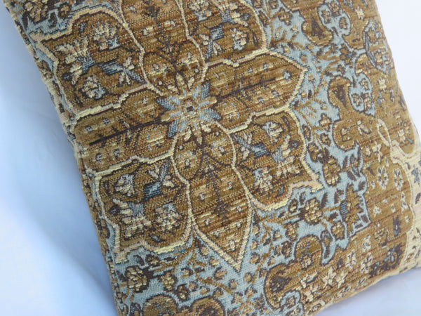 Blue and brown carpet tapestry pillow