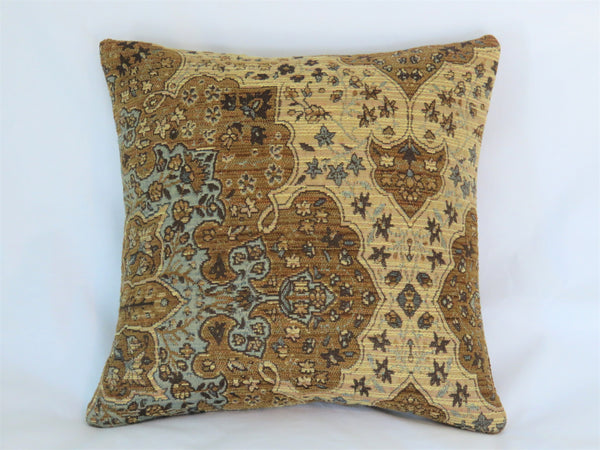 Brown beige blue chenille tapestry pillow