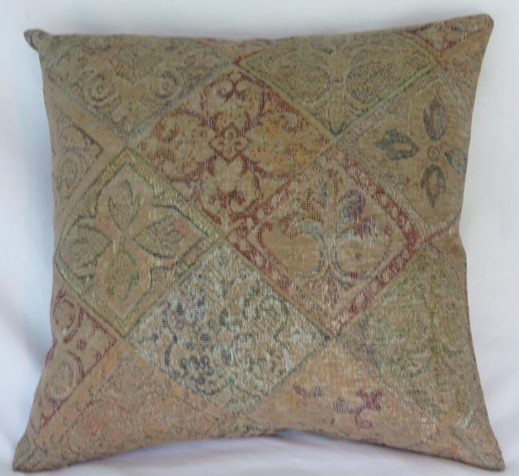 Faded diamond tapestry pillow