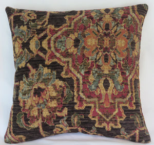 blown gold red teal tapestry chenille pillow