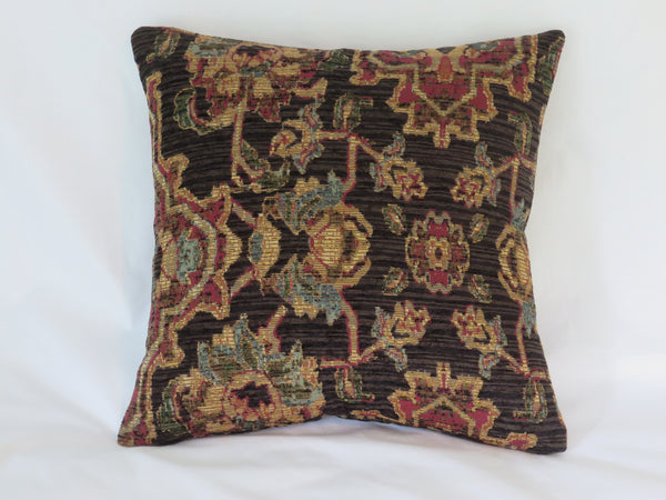 brown chenille medallion pillow