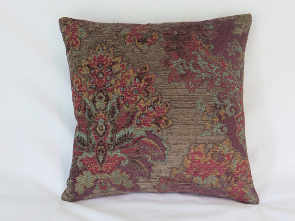 purple chenille tapestry pillow cover