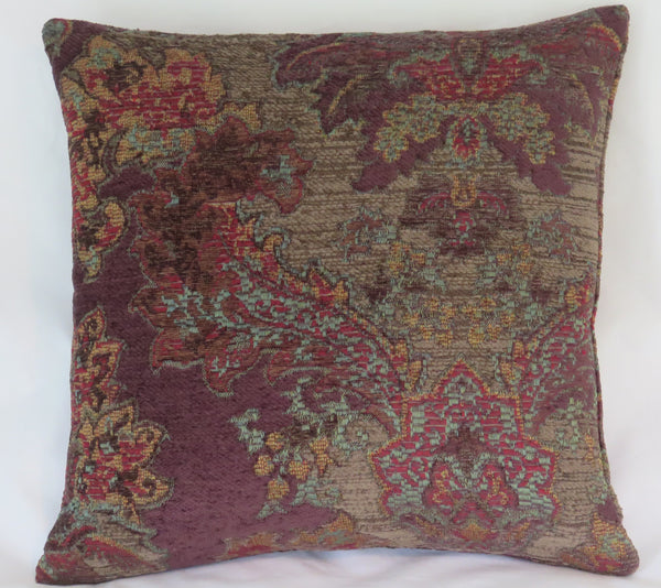 purple and taupe chenille tapestry pillow