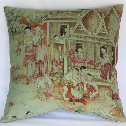 Thai pictorial pillow cover Jims Dream in Green by Jim Thompson
