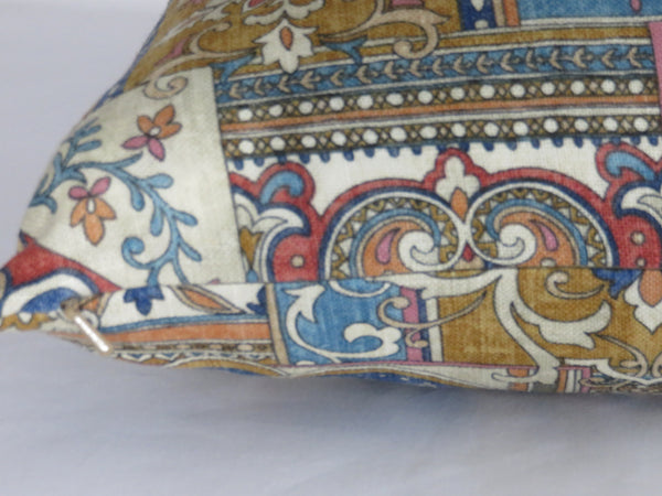 blue rust gold patchwork boho pillow