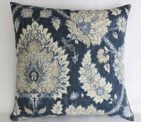navy blue ivory beige floral medallion pillow