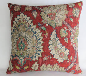 red indienne floral medallion pillow