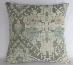 pale aqua blue, grey, ivory southwest chenille pillow