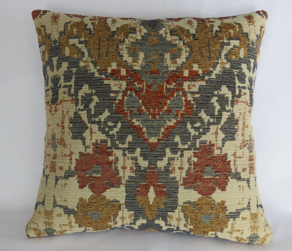 denim blue rust gold beige southwest chenille pillow