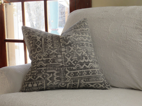 grey and beige tribal print pillow cover covington Tanner
