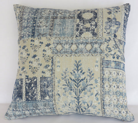indigo blue tree of life patchwork pillow