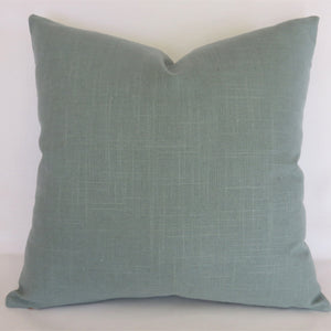 Aqua Solid Pillow Cover, Robert Allen Linen Slub in Rain