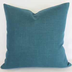 Deep Teal Solid Pillow Cover, Robert Allen Linen Slub in Turquoise