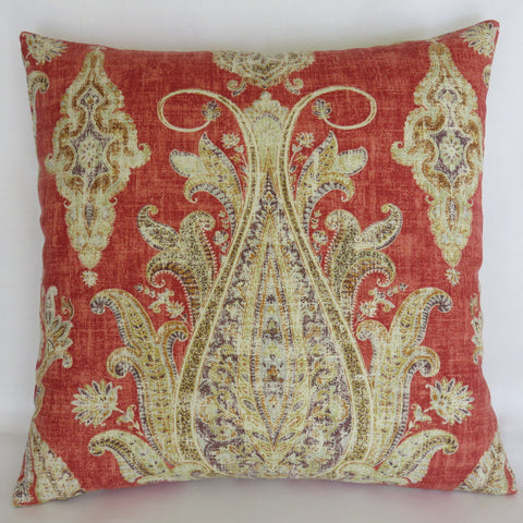 Orange Paisley Medallion Pillow Cover, Kaufmann Fair Trade in Tomato