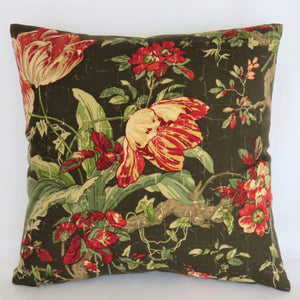 "Brown Red Green Tulip Floral Pillow Cover, 17"" Vintage Look"
