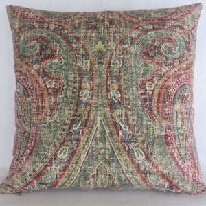 colorful distressed paisley pillow cover in teal, red, green
