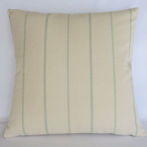 cream and aqua farmhouse stripe pillow cover