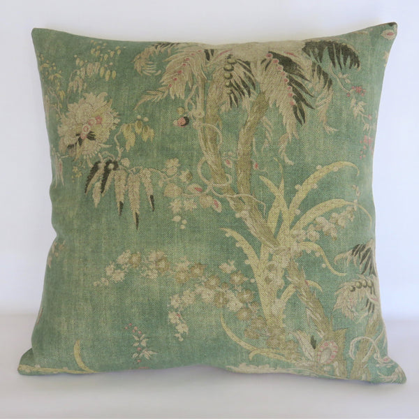 Sea Green Acquitaine Floral Pillow Cover, Teal English Linen Print