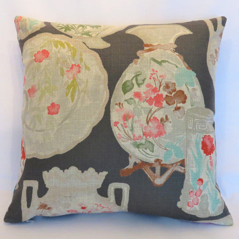 Grey Coral Aqua Pillow Cover with Painted China, Regal Quinn