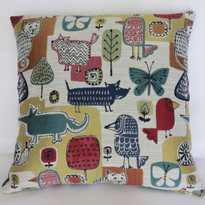 colorful cat and dog throw pillow for pet lovers