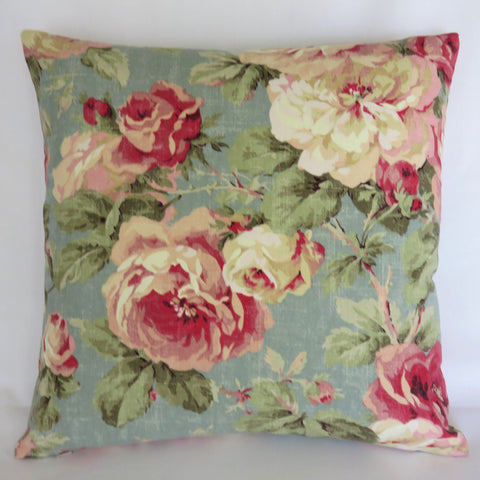 Aqua and Pink Floral Pillow Cover, Roses on Weathered Robins Egg Blue