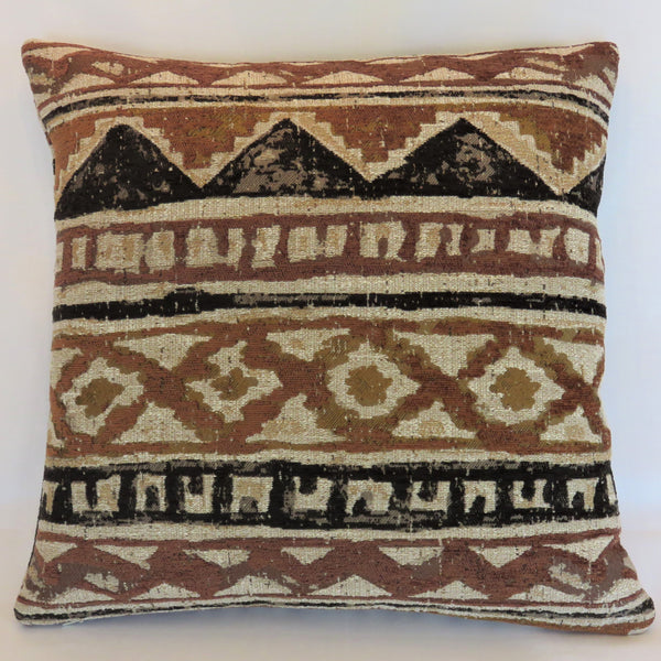 Tribal Mud Cloth Motif Pillow Cover in Brown, Black & Beige