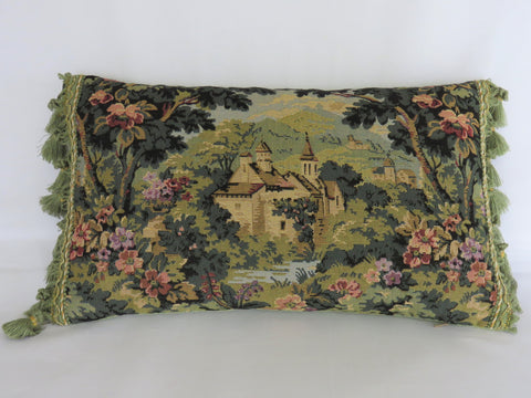 Verdure tapestry pillow with french chateau