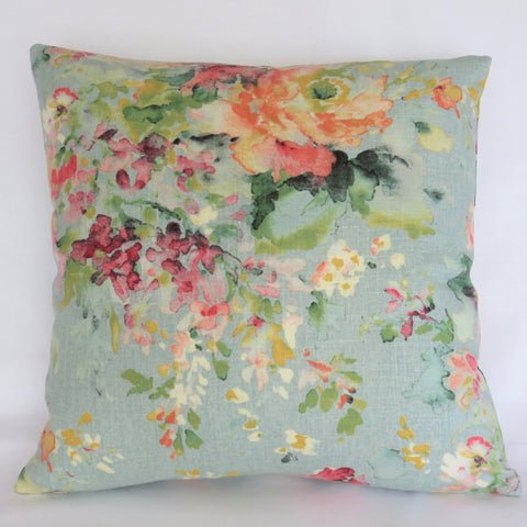 aqua floral pillow cover of Covington Macbeth Eggshell Blue