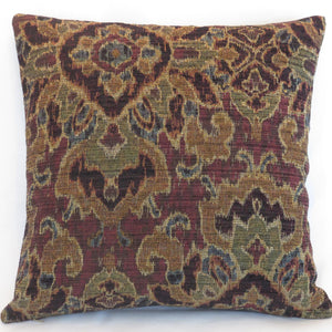 Deep red ikat pillow cover with brown, olive, teal