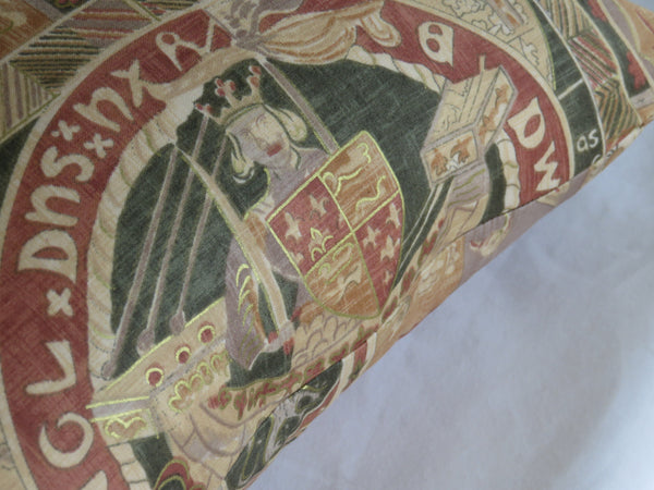Medieval heraldry pillow cover in terracotta and gold