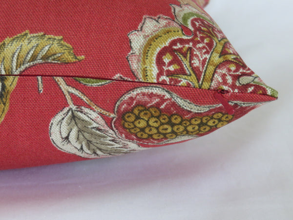 Lawrence Jacobean floral pillow cover in red linen blend