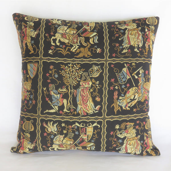 Black Medieval Brocade Pillow Cover with Knights and Horses