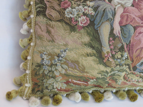 French country tapestry pillow with tassels